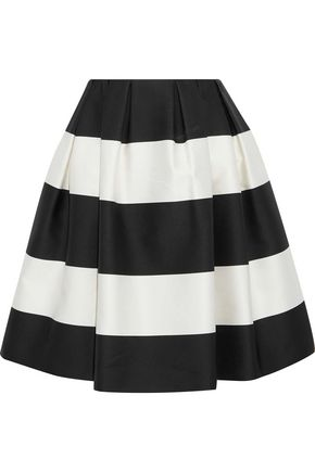 CAROLINA HERRERA Flared pleated striped satin skirt