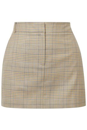 TIBI Prince of Wales wool and silk-blend mini skirt