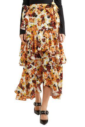 ELLERY Tiered printed crepe midi skirt
