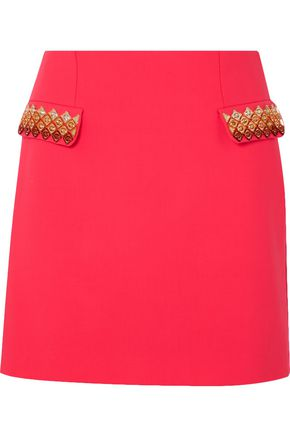 MARY KATRANTZOU Clovis embellished stretch-wool mini skirt