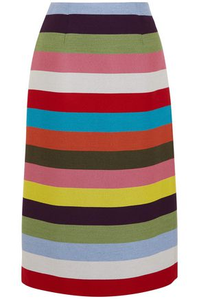 MARY KATRANTZOU Sigma striped wool-blend twill skirt
