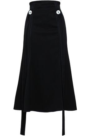 ELLERY Button-detailed crepe midi skirt