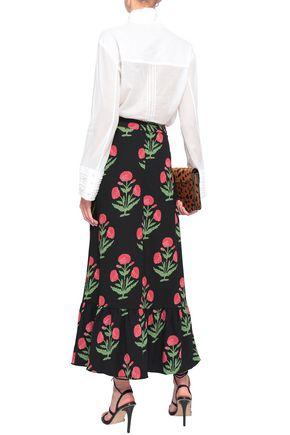 ANTIK BATIK Floral-print crepe midi skirt