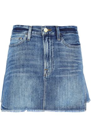 FRAME Frayed denim mini skirt
