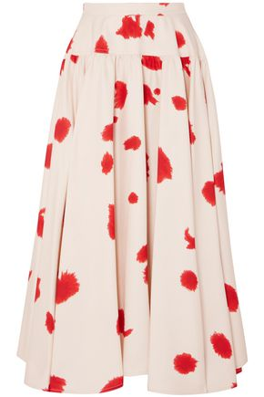 CALVIN KLEIN 205W39NYC Gathered printed silk maxi skirt