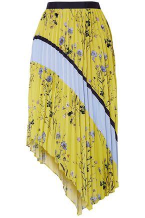SELF-PORTRAIT Floral-print pleated crepe midi skirt