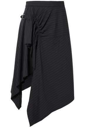 3.1 PHILLIP LIM Printed layered ruched wool midi skirt