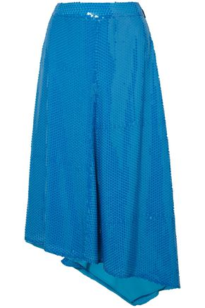 MSGM Asymmetric sequined woven midi skirt