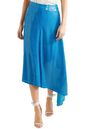 MSGM Asymmetric sequined crepe midi skirt