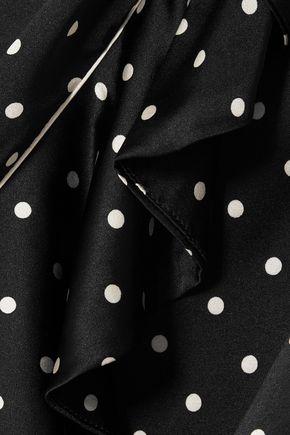 GANNI Polka-dot ruffled silk-satin midi skirt