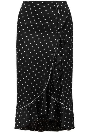 GANNI Polka-dot ruffled silk-satin midi skirt