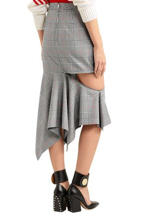 MONSE Prince of Wales ruffled woven midi skirt