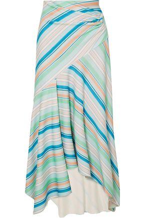 ANCIENT GREEK SANDALS x PETER PILOTTO Wrap-effect striped stretch-jersey midi skirt