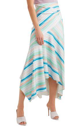 PETER PILOTTO Wrap-effect striped stretch-jersey midi skirt