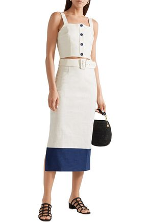 6e6a6e57b349a STAUD Two-tone linen-blend midi skirt