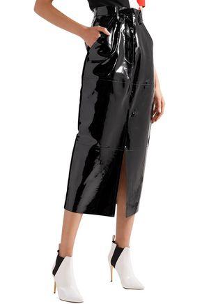SOLACE LONDON Patent-leather midi pencil skirt