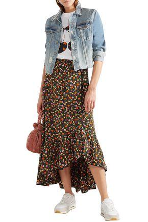 049ed131 GANNI Ruffled floral-print silk crepe de chine midi wrap skirt