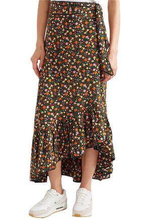 GANNI Ruffled floral-print silk crepe de chine midi wrap skirt