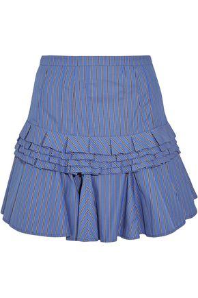 MAGGIE MARILYN Tiered striped cotton-poplin mini skirt