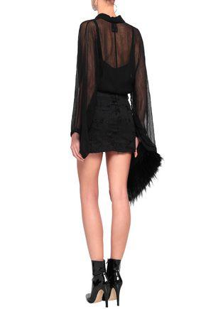 ANN DEMEULEMEESTER Distressed denim mini skirt