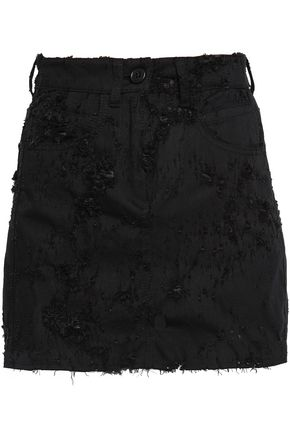 ANN DEMEULEMEESTER Distressed denim mini skirt