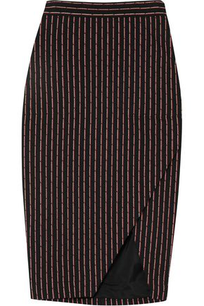 ALTUZARRA Wilcox wrap-effect pinstriped cotton-blend midi skirt