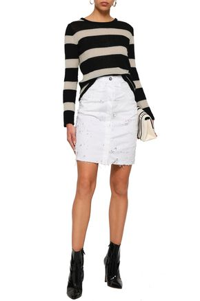 ANN DEMEULEMEESTER Norwood distressed denim skirt