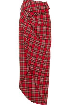 A.W.A.K.E. Checked cotton-flannel midi wrap skirt