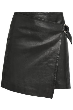 BA&SH Wrap-effect leather mini skirt