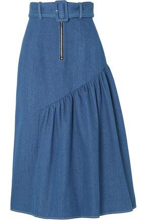 REJINA PYO Belted gathered denim midi skirt
