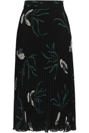 BA&SH Pleated floral-print georgette midi skirt
