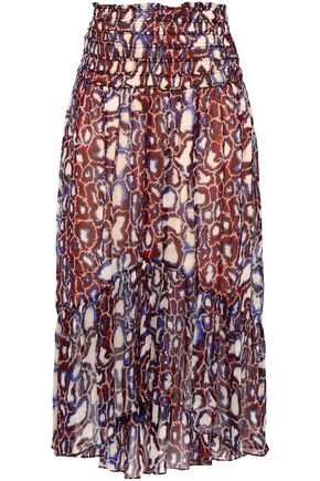 BA&SH Gathered printed georgette skirt