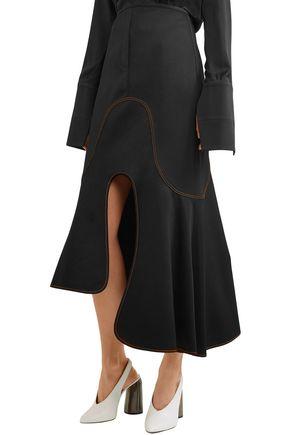 ELLERY Satin-crepe midi skirt