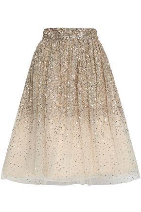 ALICE + OLIVIA Flared embellished dégradé tulle skirt
