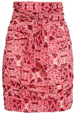 BA&SH Russo knotted printed georgette mini skirt