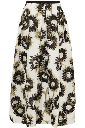 ERDEM Elena pleated fil coupé cotton-blend organza midi skirt