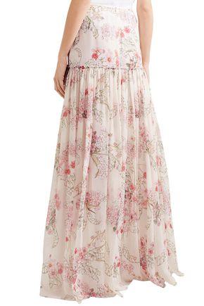 GIAMBATTISTA VALLI Floral-print silk-chiffon maxi skirt