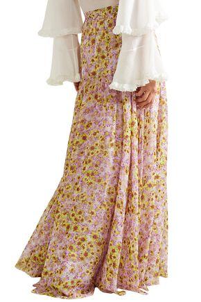 MISSONI Pleated floral-print silk-chiffon maxi skirt