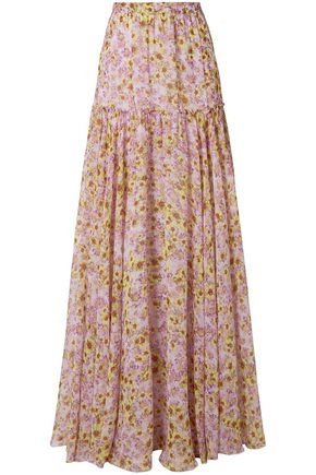 MISSONI Pleated floral-print silk-chiffon maxi skirt