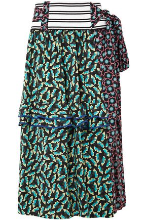 MARNI Printed silk-blend crepe wrap skirt