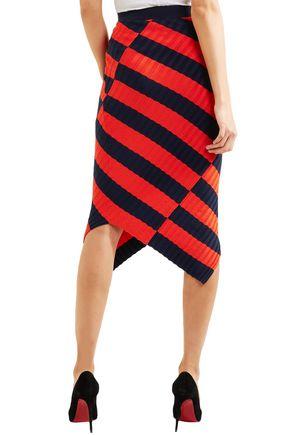 ALTUZARRA Mallory asymmetric striped stretch-knit skirt