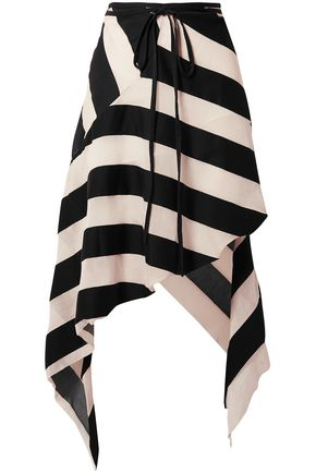 MARQUES' ALMEIDA Striped cotton and silk-blend midi skirt