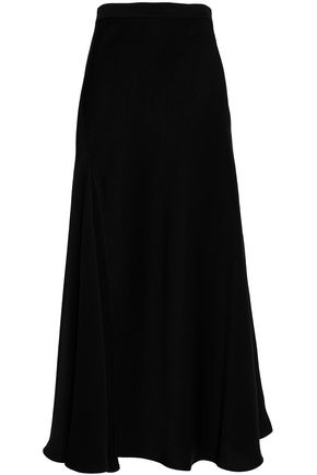 ELLERY Crepe-satin flared midi skirt