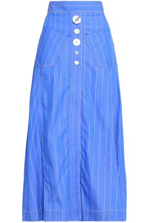 ELLERY Aggie button-detailed pinstriped cotton-poplin midi skirt