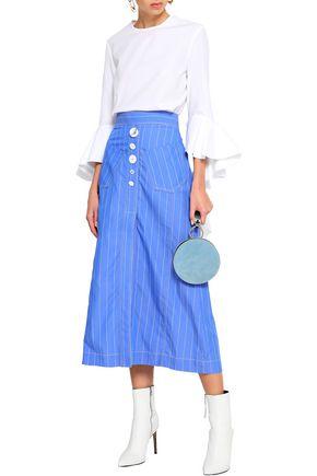 ELLERY Aggie button-detailed pinstriped cotton-poplin midi skirt