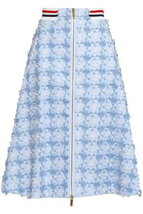 THOM BROWNE Floral-appliquéd cotton-piqué midi skirt