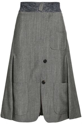 THOM BROWNE Felt-trimmed button-detailed wool and mohair-blend skirt