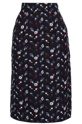 THOM BROWNE Floral-print wool woven skirt