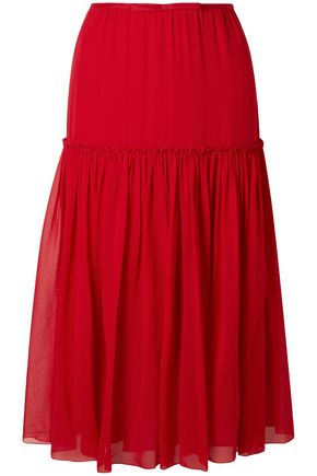 GIAMBATTISTA VALLI Gathered silk-chiffon midi skirt