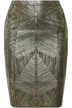 HERVÉ LÉGER Cadi metallic bandage pencil skirt